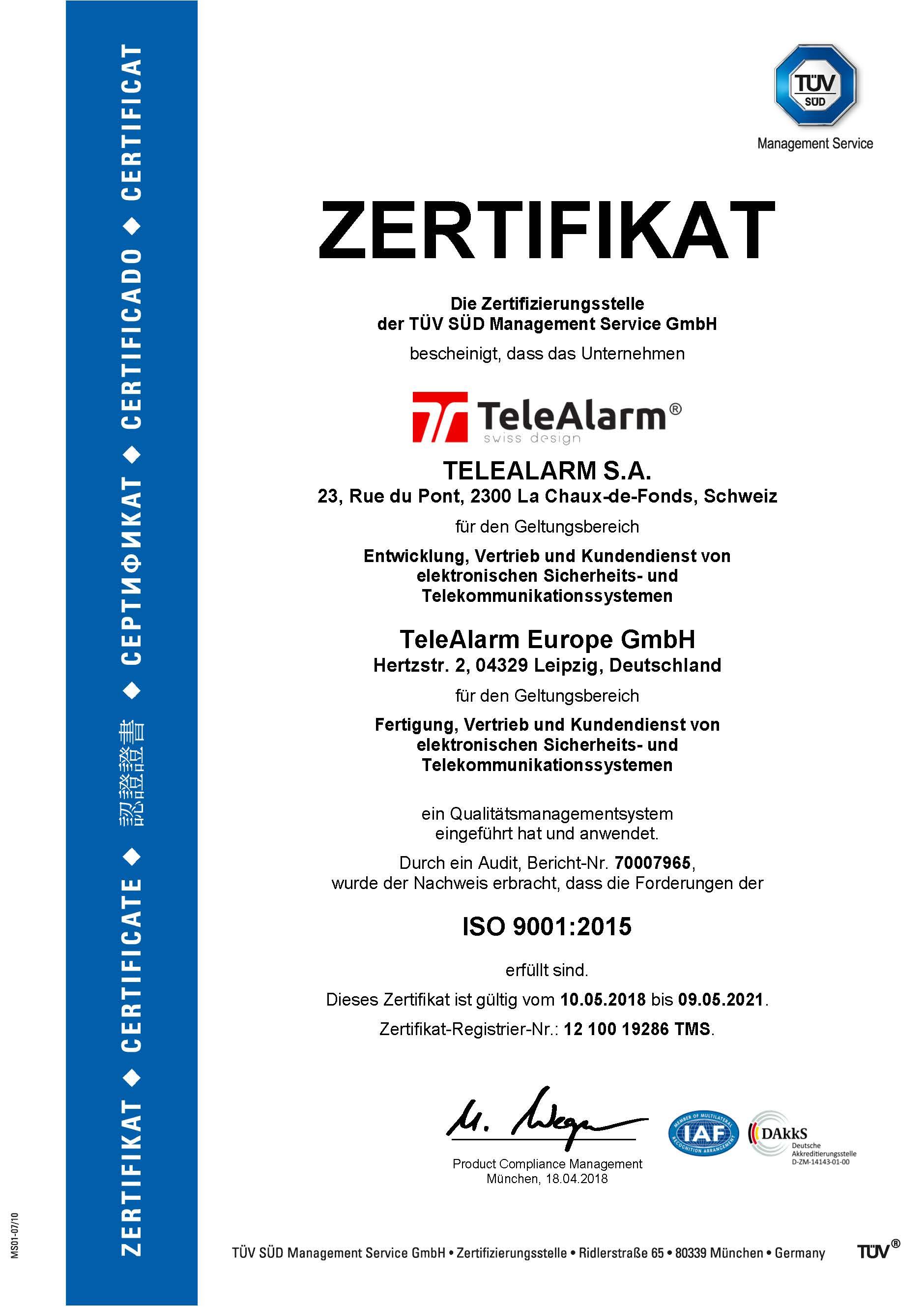 Zertifikat DE ISO 9001:2015